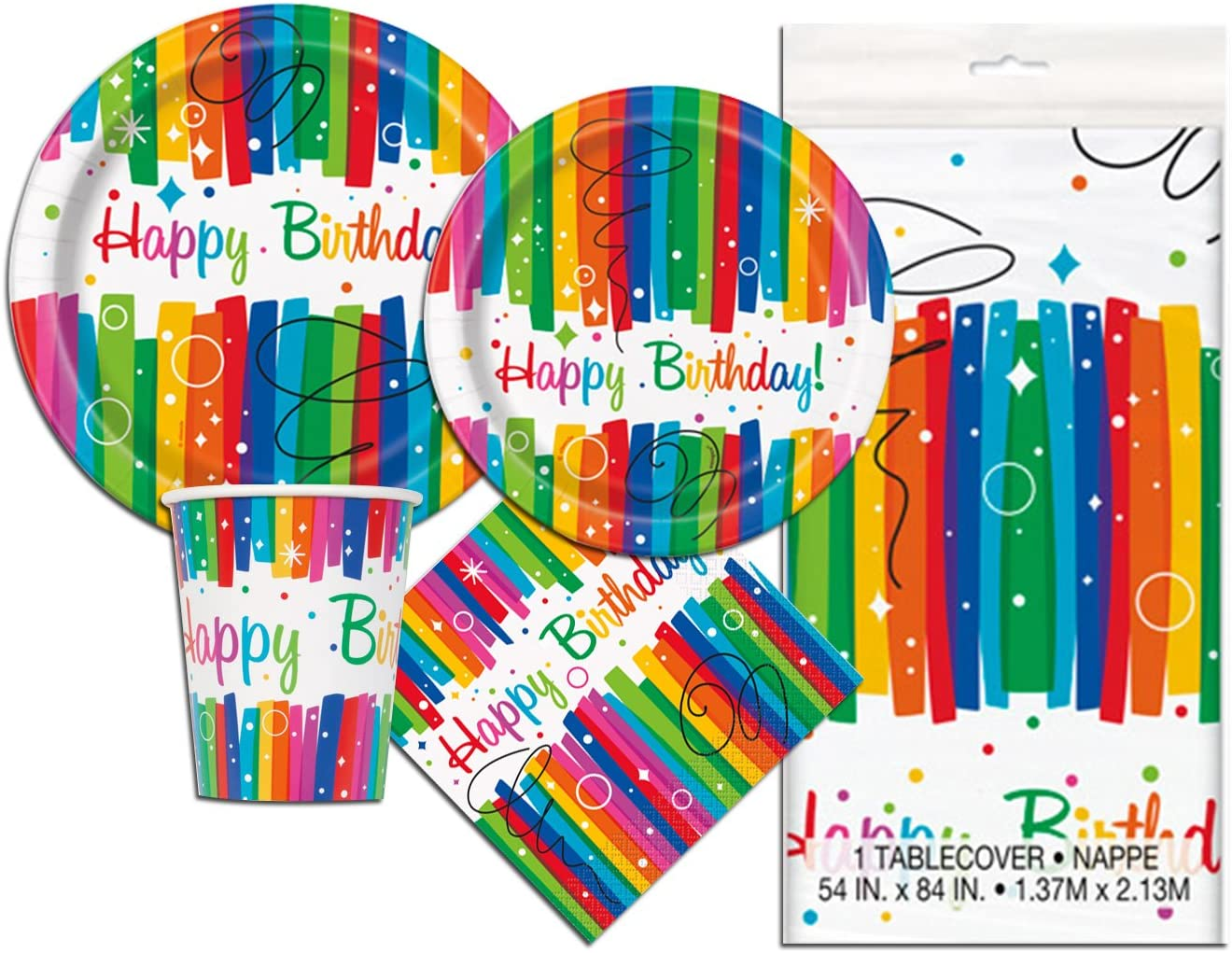 Rainbow Birthday Deluxe Party Pack Serves 16 Plates Cups Napkins & Tablecloth