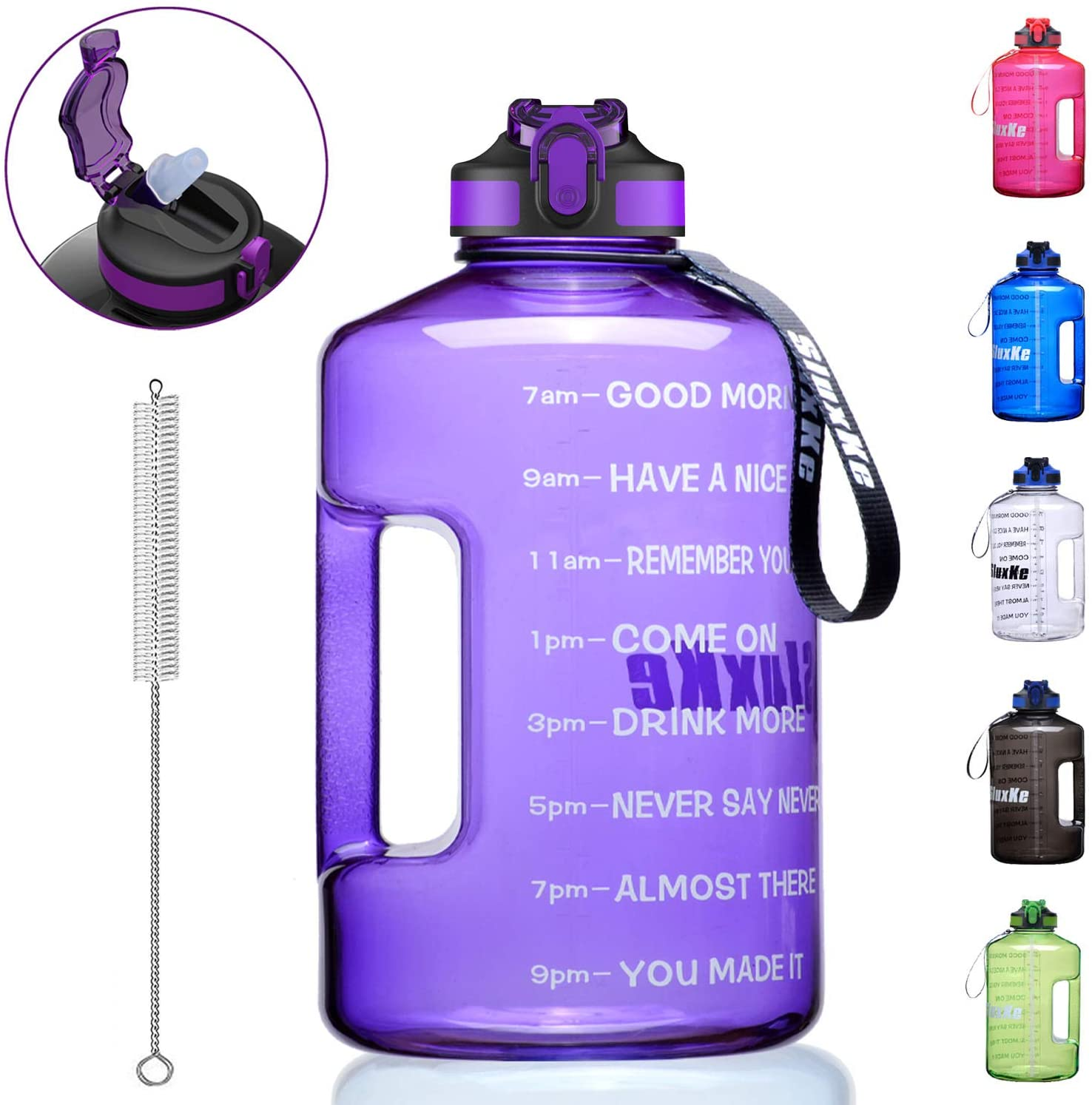 SLUXKE 1 Gallon Water Bottle with Time Marker and Straw, BPA Free 128oz Leak Proof Motivational Large Water Bottle Jug with Handle, Pop Up Open Sports Big Bottle Jug with Comfortable Silicone Nozzle