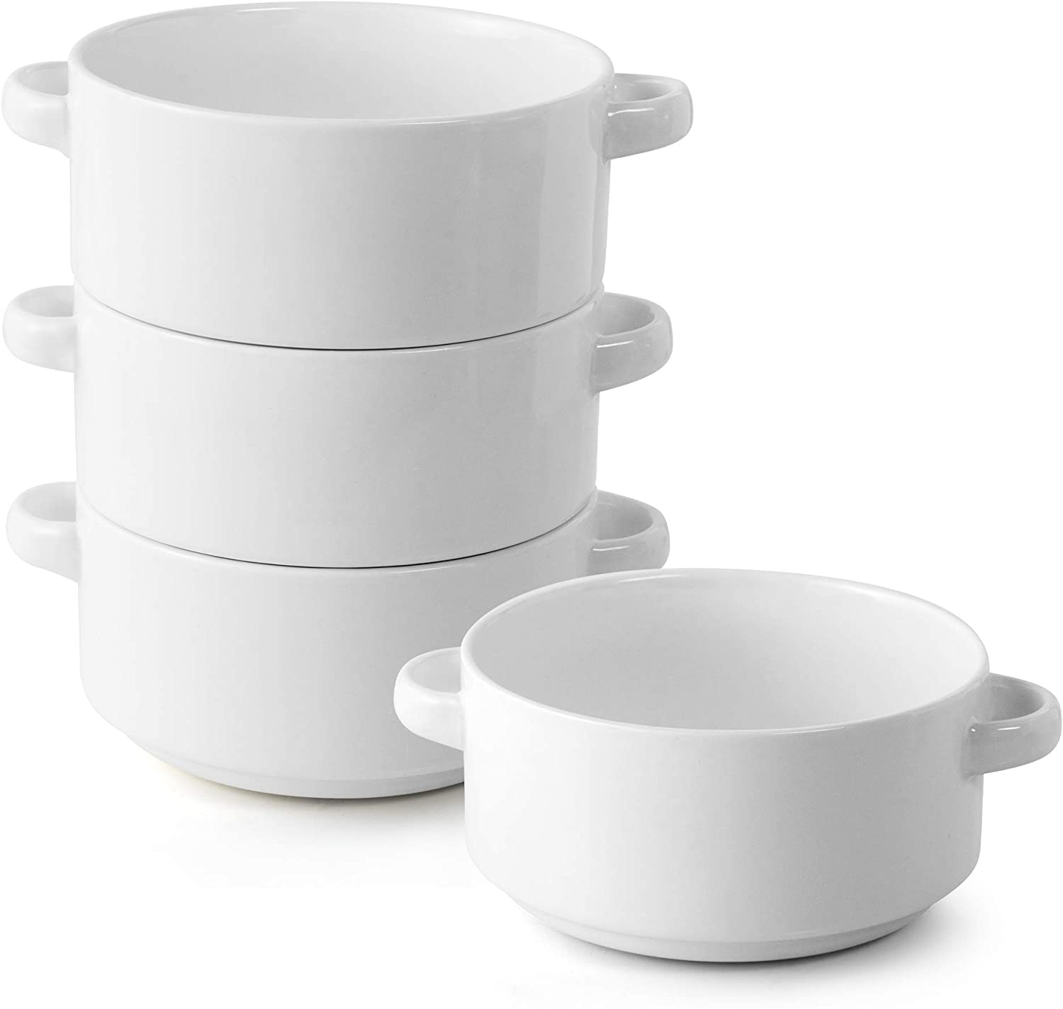 Porcelain Soup Bowls with Handles, Set of 4, 20 Ounce Ceramic Crocks for French Onion Soup, Cereal, Oatmeal or Chili, Stackable Bowls, Large Serving Crocks are Microwave and Oven Safe (White)