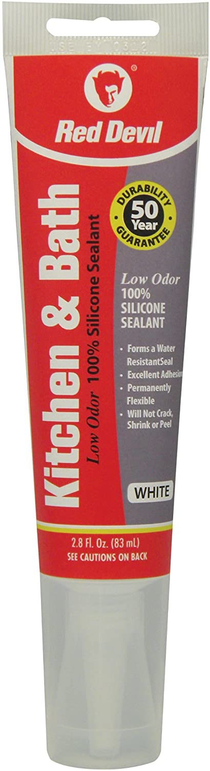 Red Devil 0883 Kitchen & Bath Low Odor Silicone Sealant, 2.8 Oz Squeeze Tube, White, Pack of 1