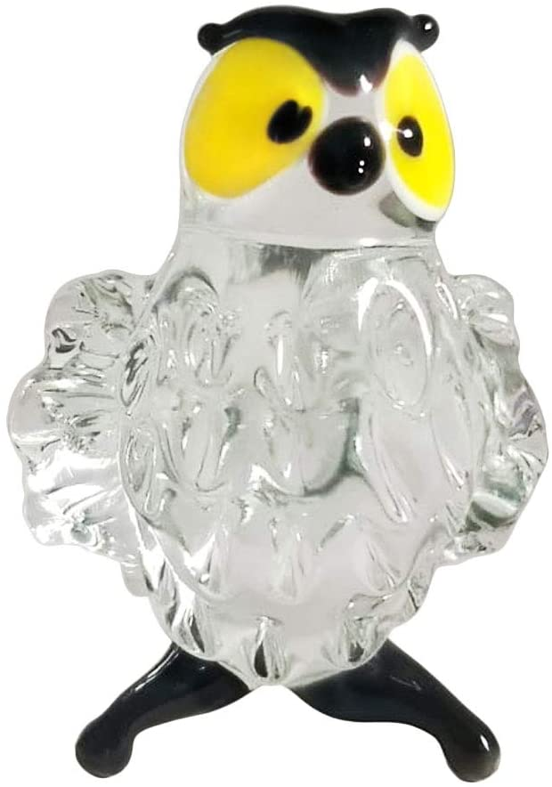 Transparent Owl Small Art Glass Hand-Blown Collectible Figurine
