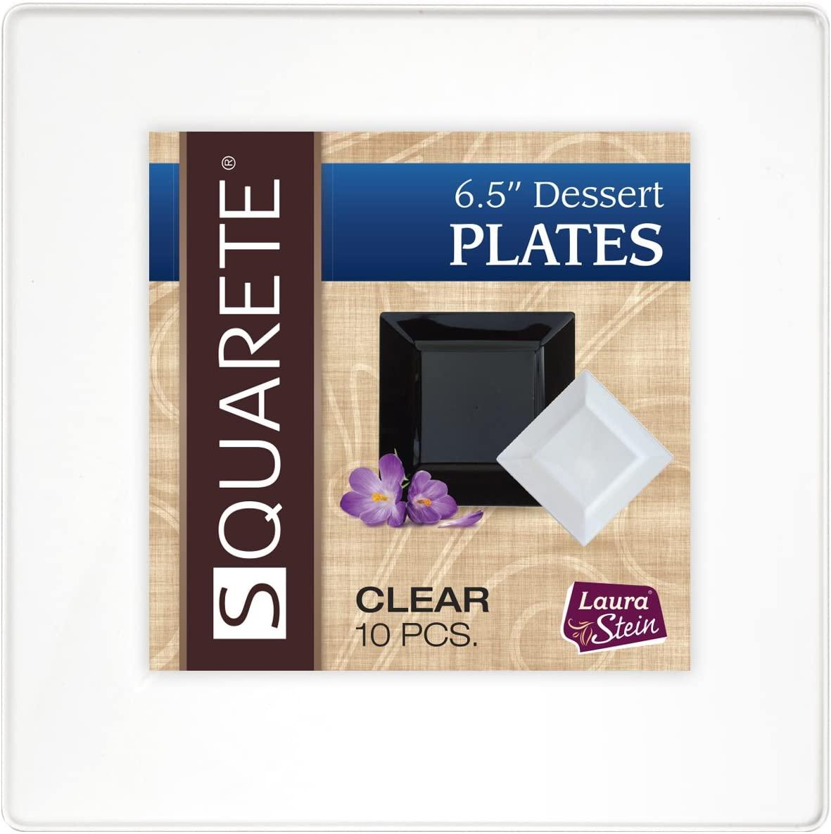Squarete 6.5'' inch Clear Dessert Party Plates Hard Plastic Elegant Disposable 10 Dessert Plates Per Package Pack of 4