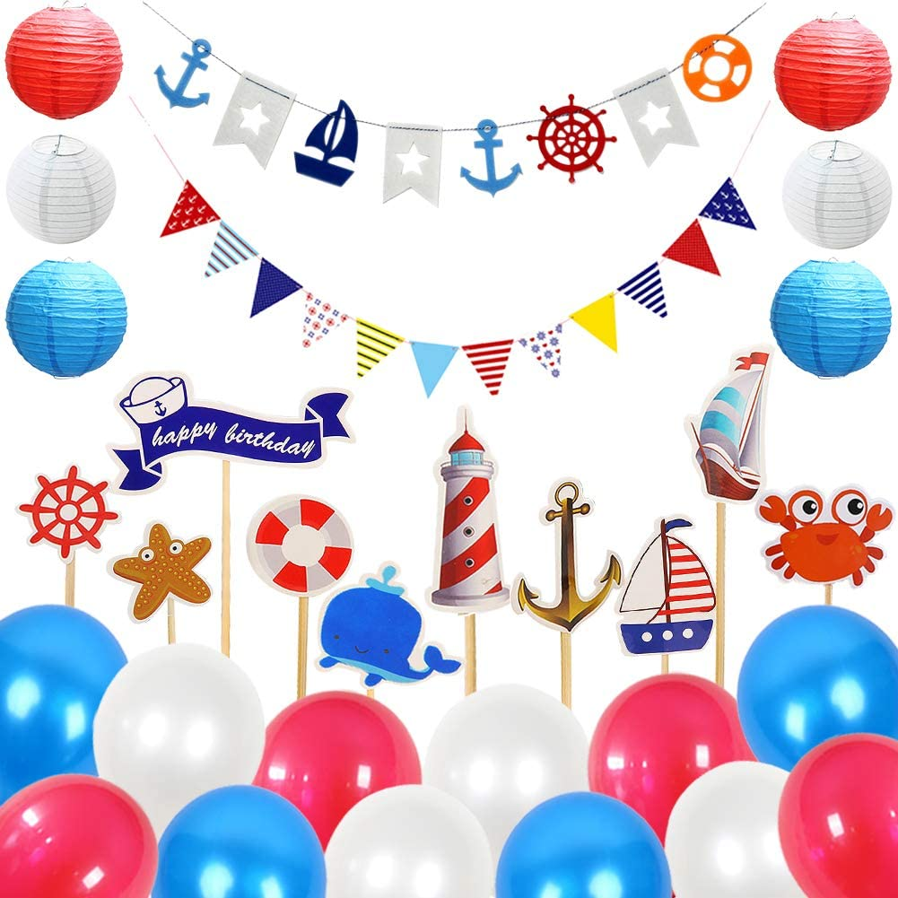 LOCCA Nautical Party Decorations for Baby Shower/Bachelorette/Birthday/Bridal Shower, Anchor Sailboat Theme Party Supplies for Adults Boys Girls Classroom Nursery Wall Decor