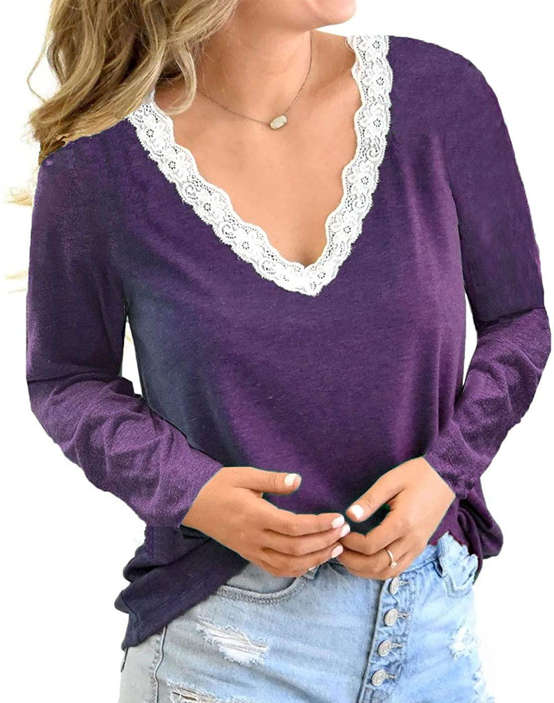 Kinlonsair Women Crochet Lace Basic V-Neck T-Shirt Short Sleeve Loose Fitting Tunic