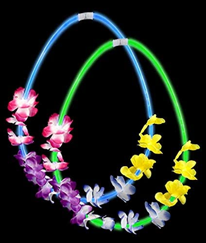 Fun Central 12 Pieces - 22 Inches Glow in The Dark Flower Leis Necklaces in Bulk for Luau Party Supplies and Beach Party Decorations - Assorted Colors