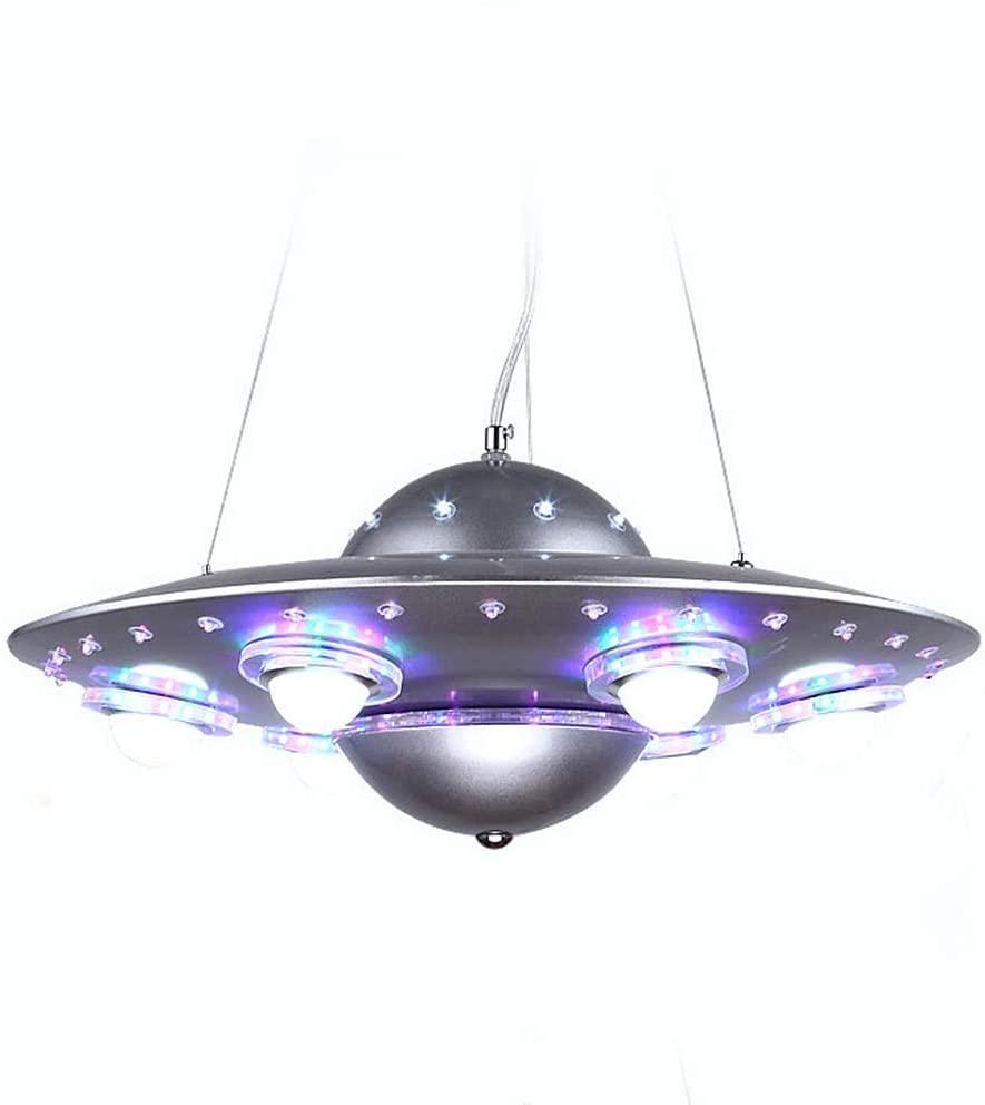 LAKIQ Kids Room LED Chandeliers UFO Shape 6 Lights Hanging Pendant Lighting Fixture Suspended Light for Boys Room Bedroom Children's Room (Silver)