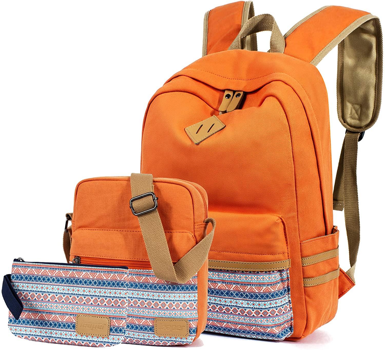 Leaper Girls backpack Geometric Backpack Purse Set for Women Shoulder Bag Orange