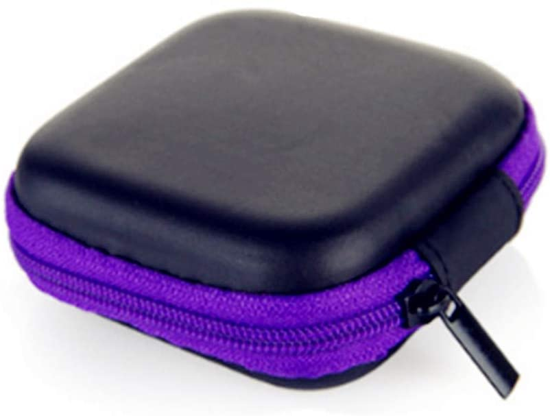 External Hard Drive Small Hard Case Carrying Case for Data Line Headphones (Purple)