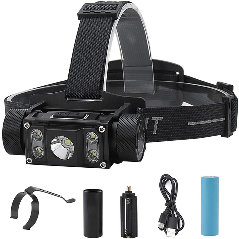 Headlamp Rechargeable LED Headlight 5 Lighting Modes Waterproof Work Head Light Brightest 1200 Lumens Headlamps Best Head Lights Perfect for Running, Hiking, Camping,Hunting, Fishing