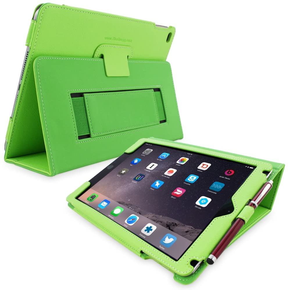 Snugg iPad 9.7 (2018/2017) & iPad Air Case, Green Leather Smart Case Cover Apple iPad Air and New iPad 2017 9.7 Protective Flip Stand Cover with Auto Wake/Sleep