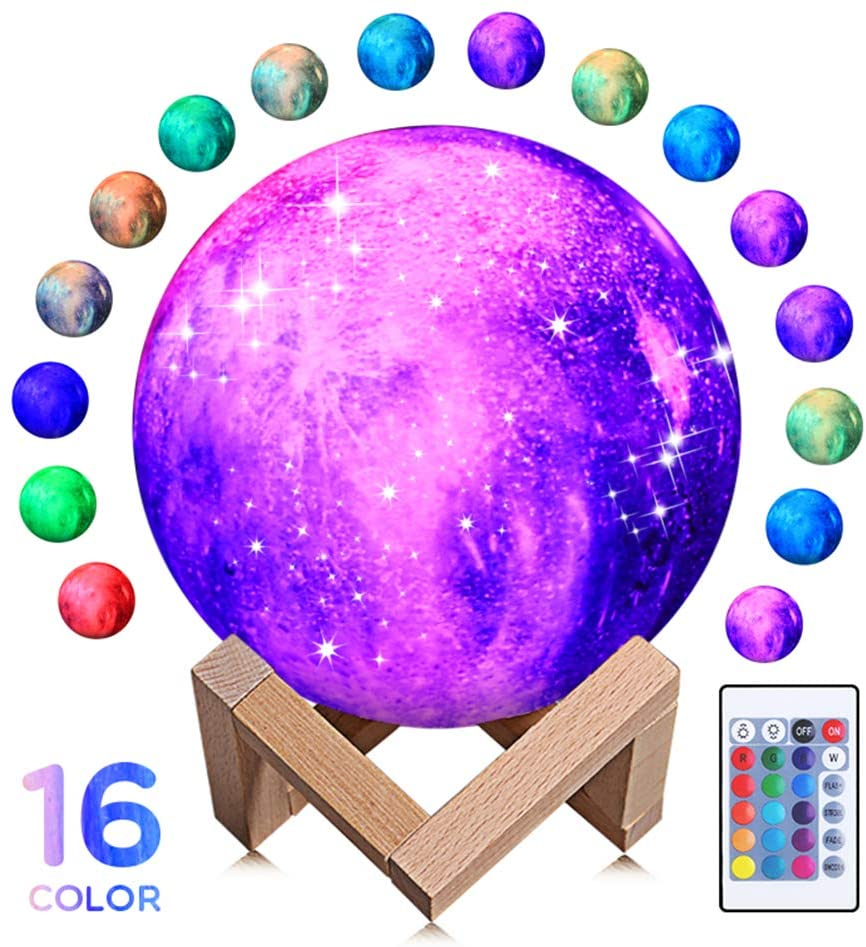 Starry Moon Lamp, 3D Printing Starry Moon Lamp 16 Colors Night Light with Stand Remote Control Touch Tap USB Rechargeable