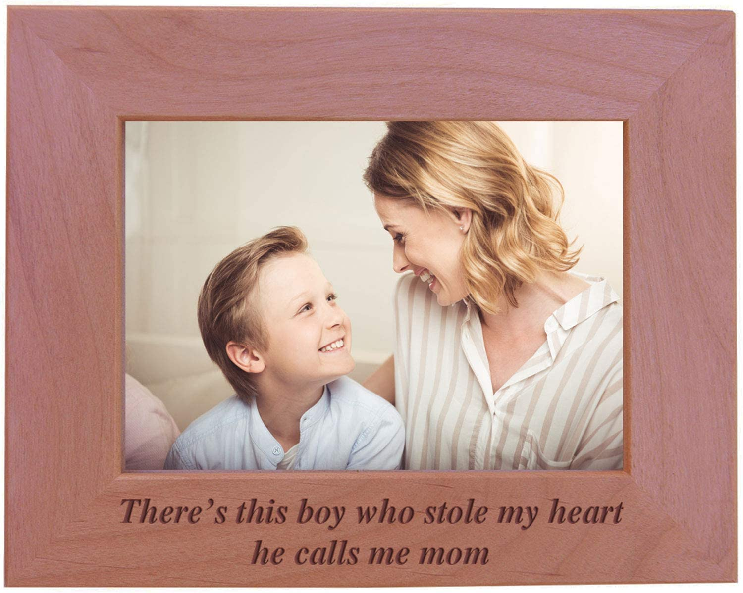 CustomGiftsNow There's This boy who Stole My Heart he Calls me mom - Engraved Wood Picture Frame (5x7 Horizontal)
