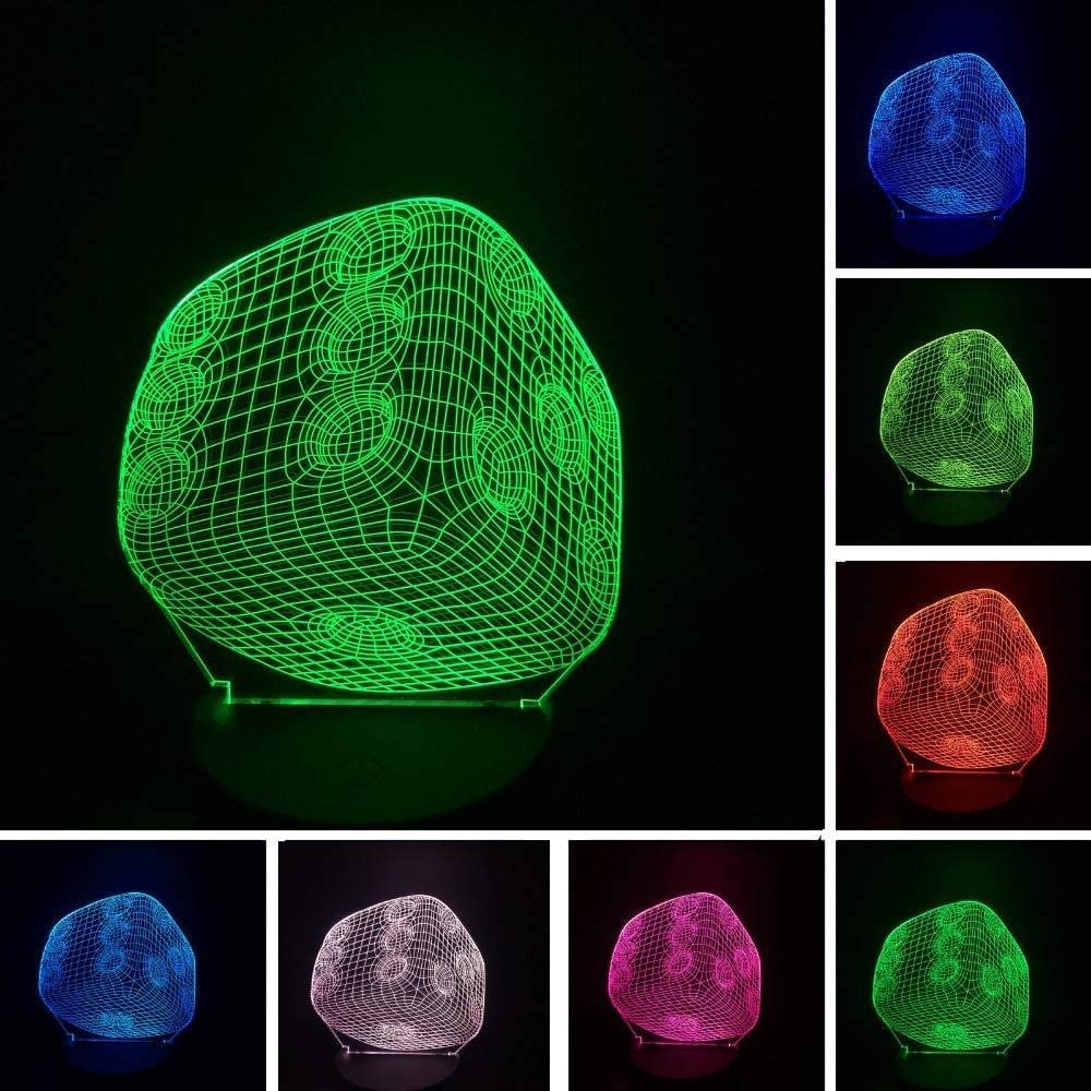 dferh 3D Night Light 3D Gambler Dice Led Night Light 7 Colors Touch Gradient Table Bedside Sleeping Lamp Child Baby Xmas New Year Birthday Gifts