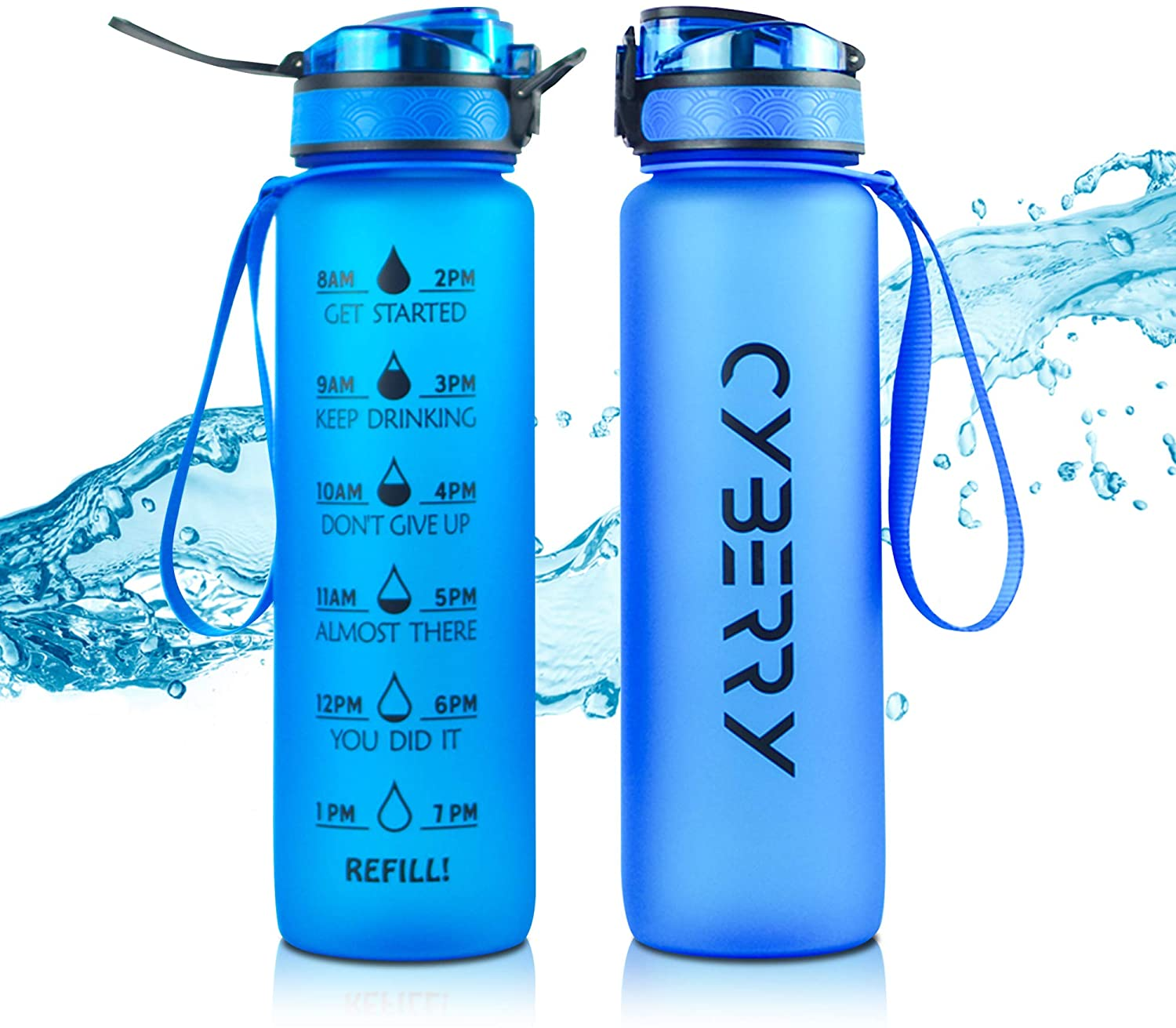 Motivational Water Bottle, 32Oz Water Bottle with Time Marker, Premium Non-BPA Leakproof Sports Fitness Bottle, Locking Lid and Optimal Water Flow, Carry Strap and Removable Filter Included
