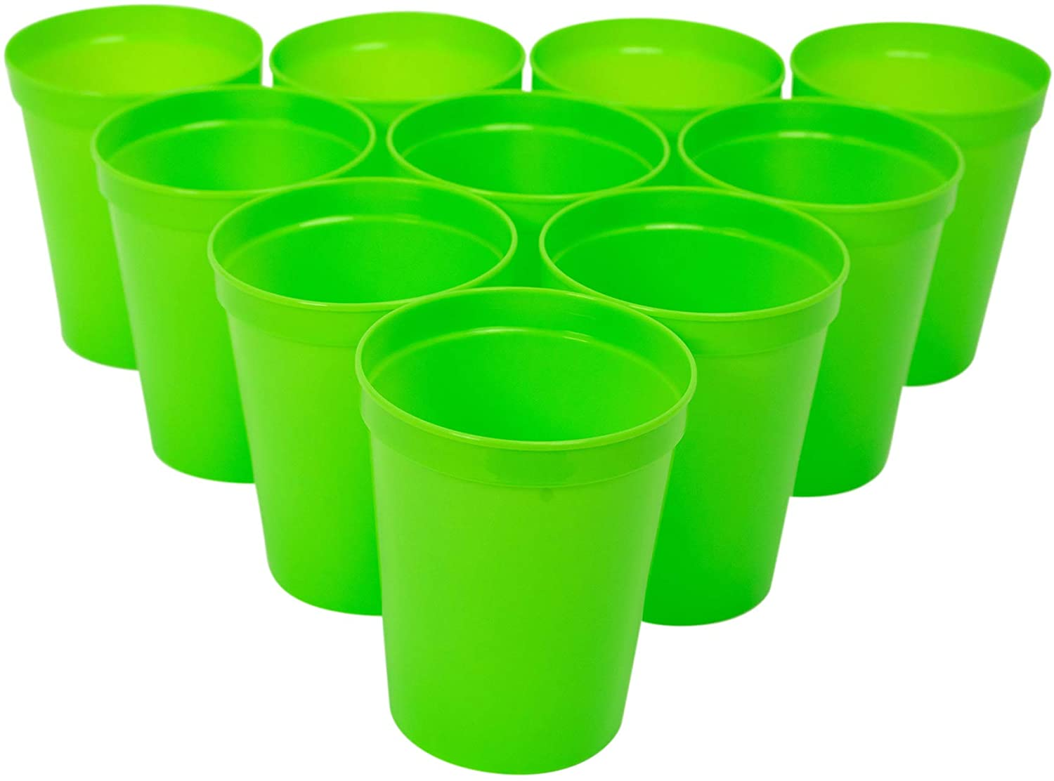 CSBD Stadium 16 oz. Plastic Cups, 10 Pack, Blank Reusable Drink Tumblers for Parties, Events, Marketing, Weddings, DIY Projects or BBQ Picnics, No BPA (Lime Green)
