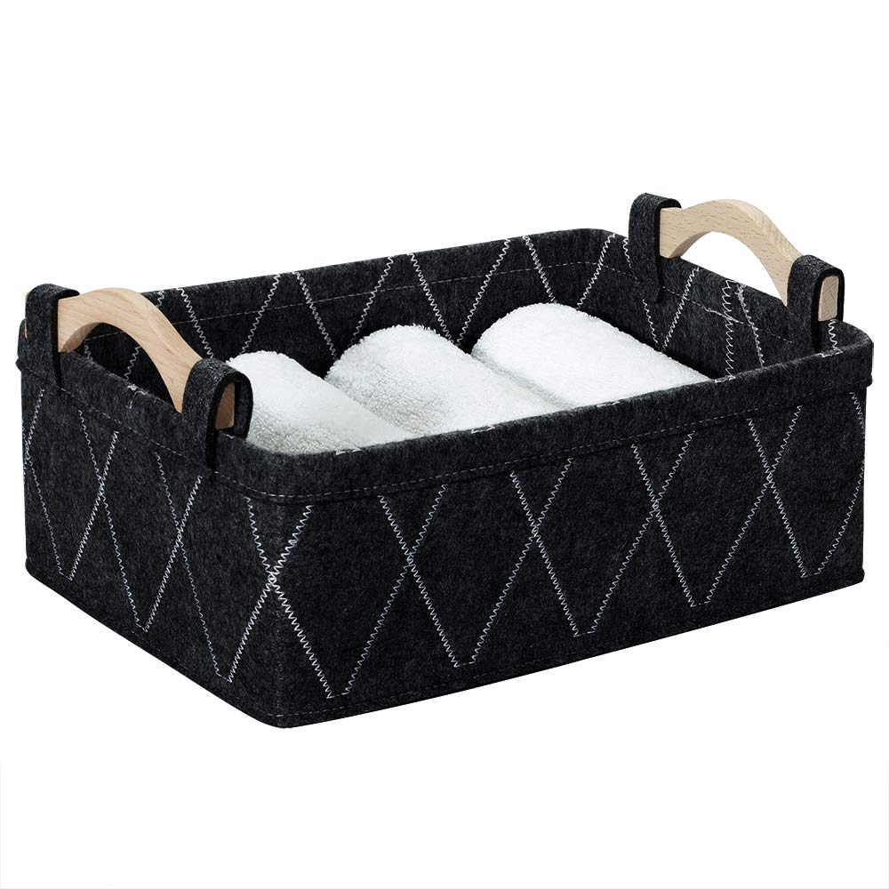 Storage Baskets Bin Narrow Long Basket for Closet Decorative Cube Nursery Container for Toys Towels Tissues Toiletry Caddy Car Organizer