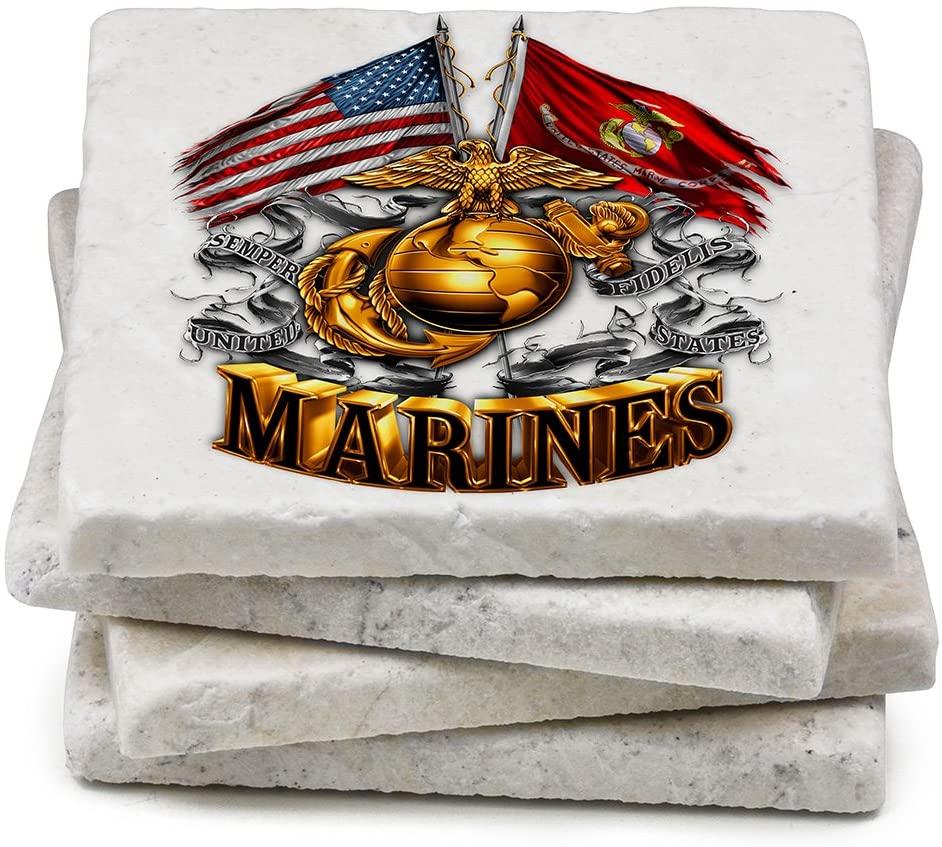 USMC Natural Stone Coaster- USMC DOUBLE FLAG GOLD GLOBE (Set Of 4)