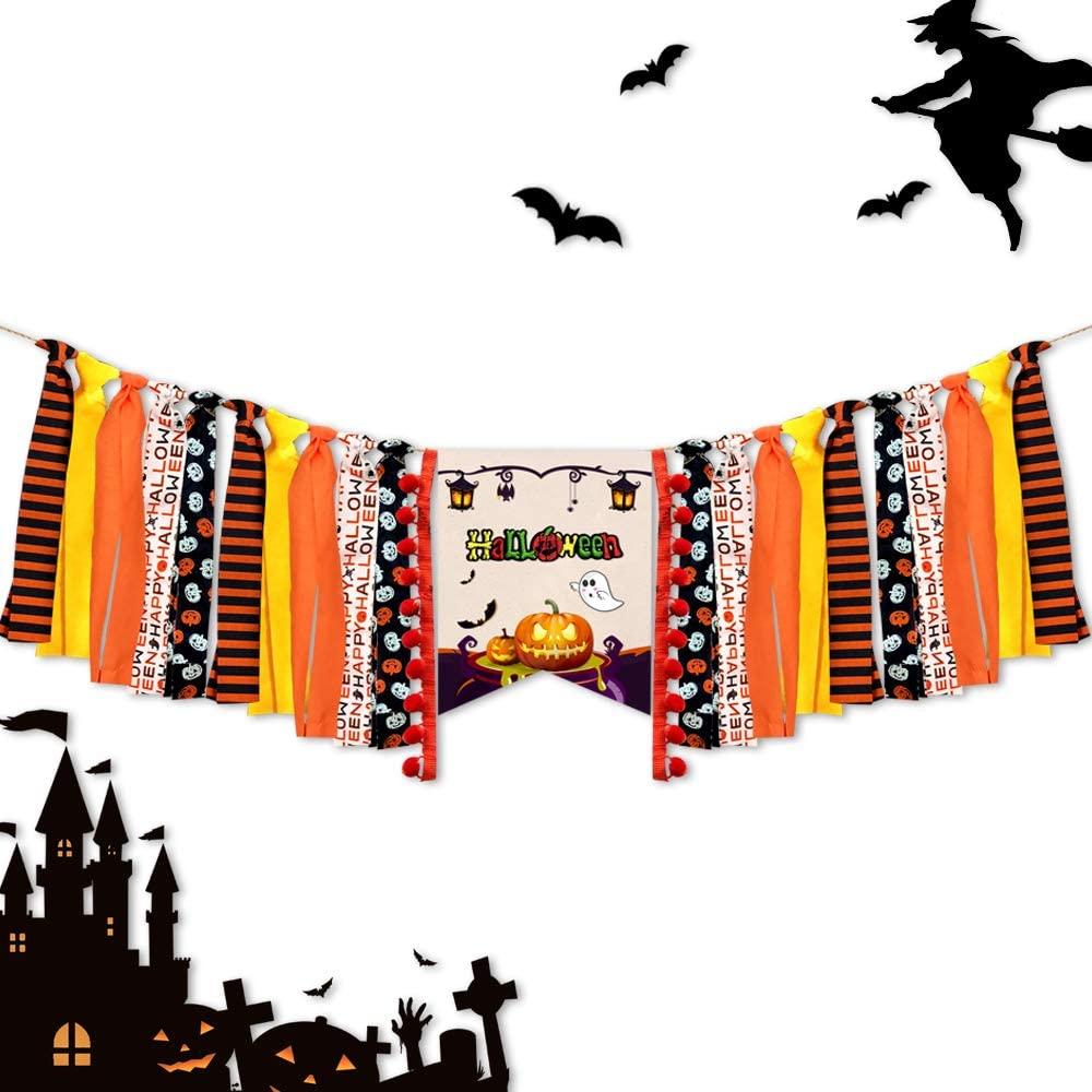 LLAMATIVO Halloween Decoration Banner Party Supplies with Pumpkin Ghost Banner - Halloween Decor Durable Trick or Treat Banner Halloween Home Office Party Decor Halloween Decorations Outdoor