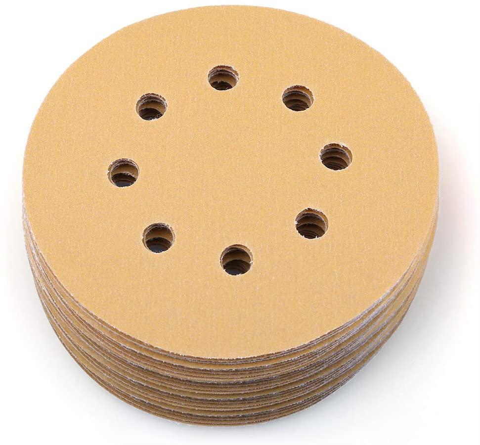 5 Inch 8 Hole 320 Grit Sanding Discs, Pack of 100, Random Orbital Sander Sandpaper, Hook and Loop Round Sand Paper by LotFancy