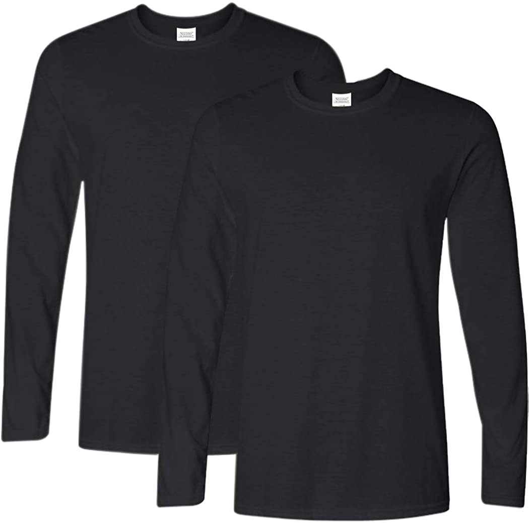 Ranberone Men's Casual Classic Fit Long Sleeve Solid Heavy Cotton T-Shirt| 1Pack/2 Pack