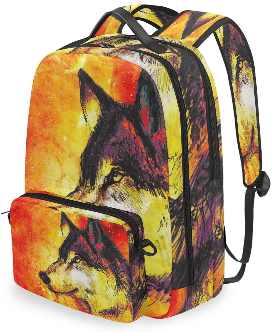 MAHU Backpack Abstract Space Wolf Animal Detachable College Bag Travel Zipper Bookbag Hiking Shoulder Crossbody Bag Daypack for Women Men