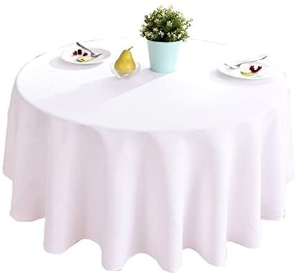 HIGHFLY Linen Round Tablecloth 70 inch Waterproof and Stain Resistant White Table Cloth for Round Tables