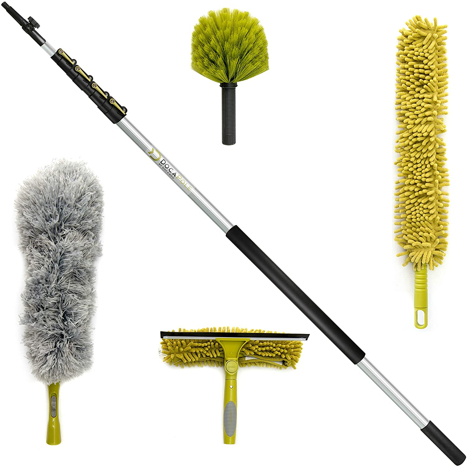 DocaPole Cleaning Kit with 24 Foot Extension Pole // Includes 3 Dusting Attachments + 1 Window Squeegee & Washer // Cobweb Duster // Microfiber Feather Duster // Ceiling Fan Duster & Cleaner