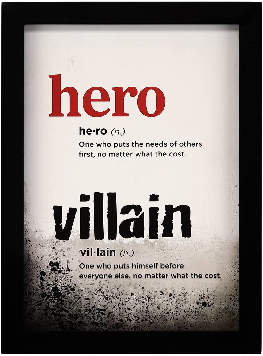 Open Road Brands Hero and Villain Definition MDF Black Wood Frame Wall Art - an Officially Licensed Product Great Addition to Add What You Love to Your Home/Garage Decor