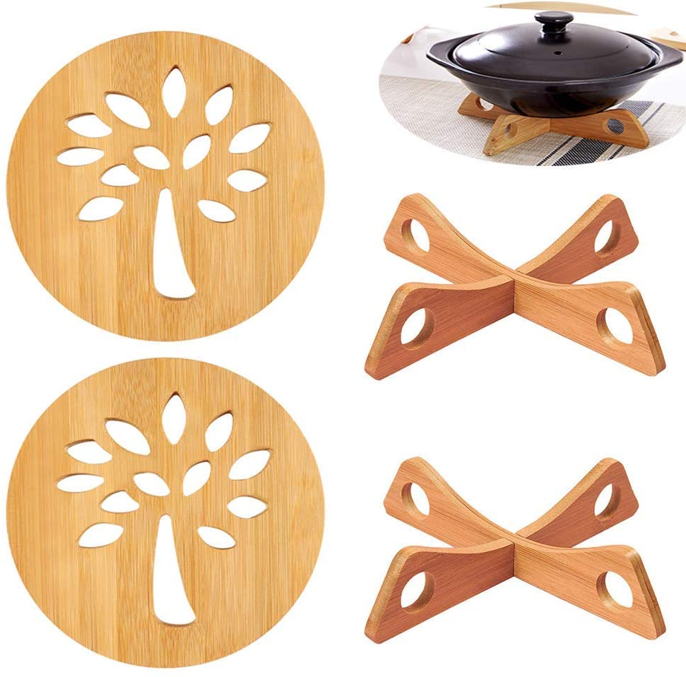 Wooden Trivet Mats and Hot Pads for Table 4 Pcs Heat Resistant Multifuntion Trivets Kitchen Tool as Bowl Mats, Dish Mats, Placemats & Pads for Hot Dishes