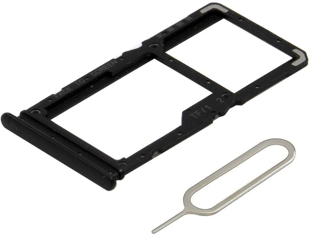 MMOBIEL Dual SIM Card Tray Compatible with Xiaomi Redmi Note 7 / Redmi Note 7 Pro (Space Black) incl. Sim Pin