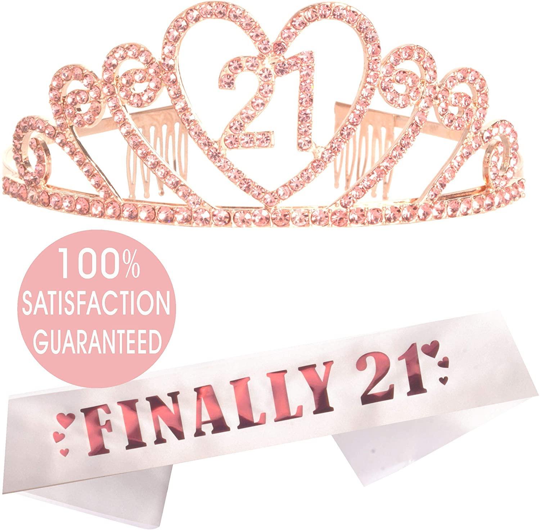 21st Birthday Gifts for Girl, 21st Birthday Tiara and Sash Pink, Happy 21st Birthday Party Supplies, 21& Fabulous Glitter Satin Sash and Crystal Tiara Birthday Crown for 21st Birthday Party Supplie