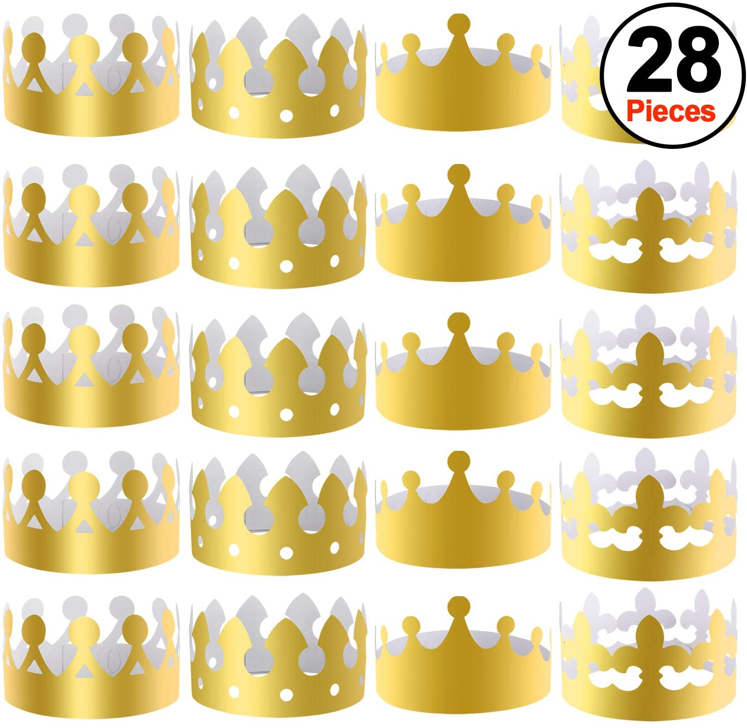 SIQUK 28 Pieces Gold Paper Crowns Party King Crown Paper Hats for Party and Celebration