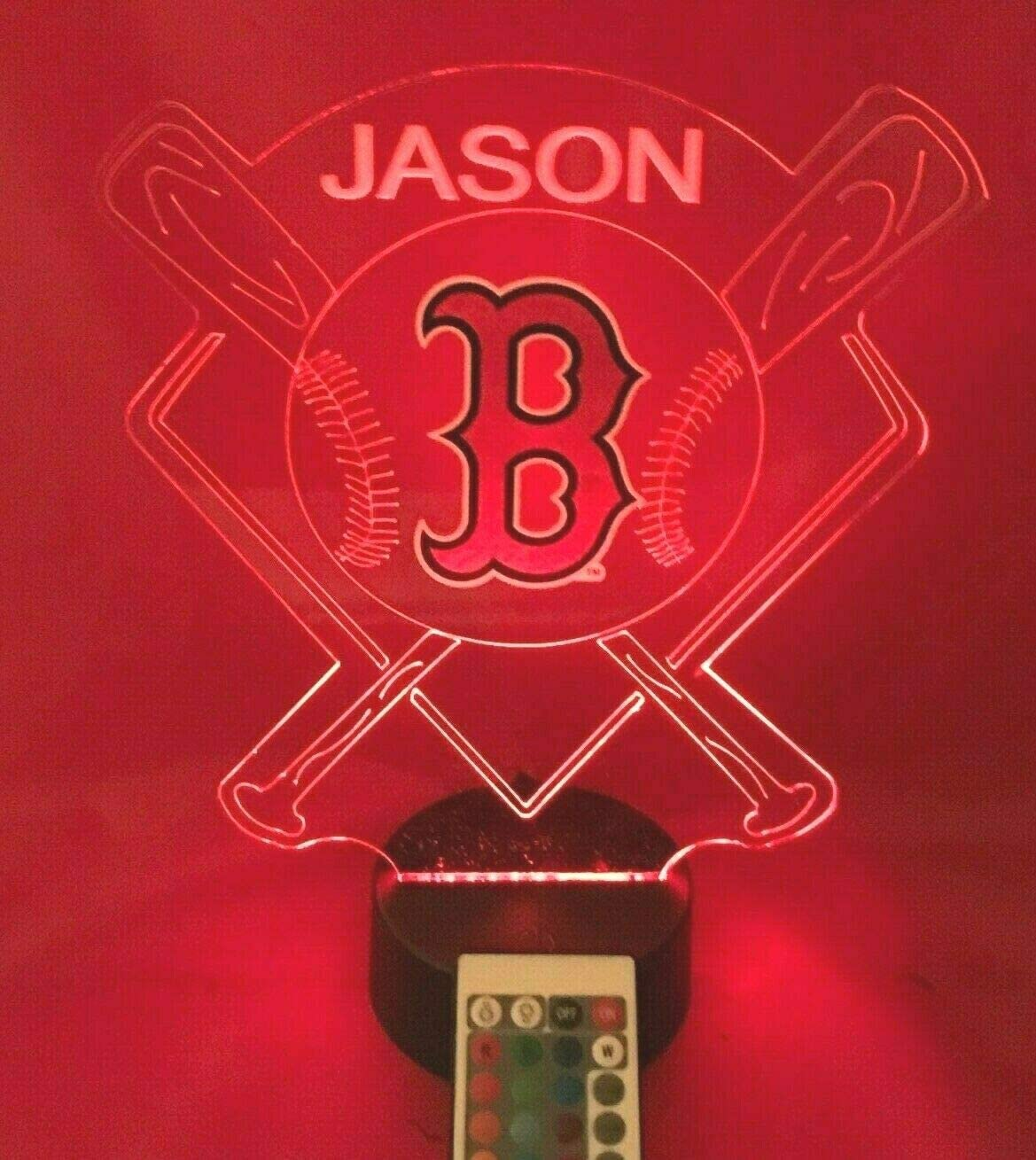 Baseball Night Light Up Lamp LED Lamp Personalized Handmade Stadium with Bats Free Personalization and Remote, Men Man Boys Girls Sports Gift, 16 Color Options, and Variations! (BS Red Sox)