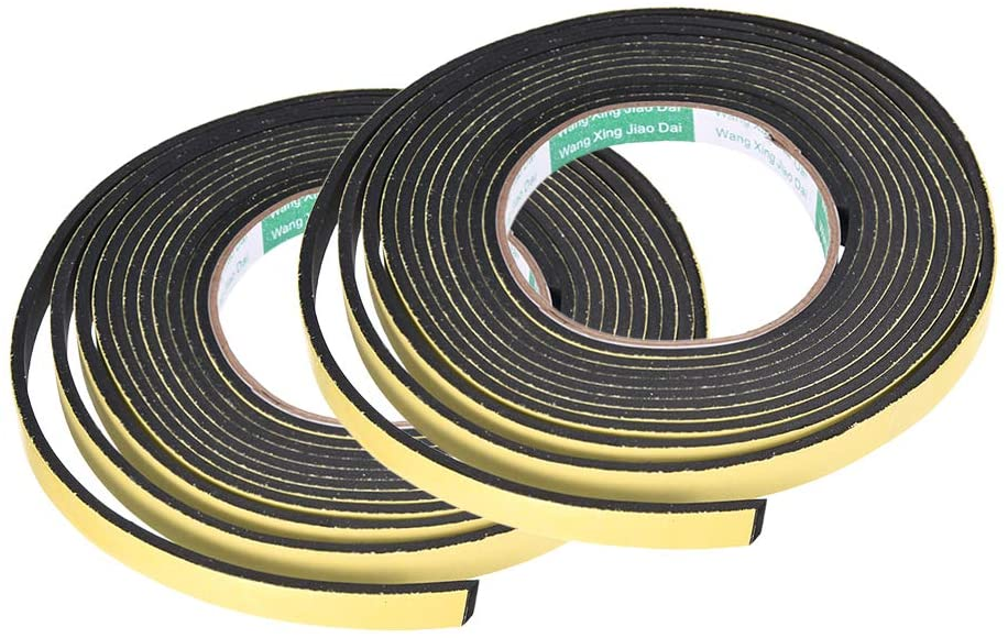 uxcell Sealing Foam Tape 10mm Wide 3mm Thick 4m/13ft Long, Self Adhesive Weather Strip for Window Door Insulation, Pack of 2