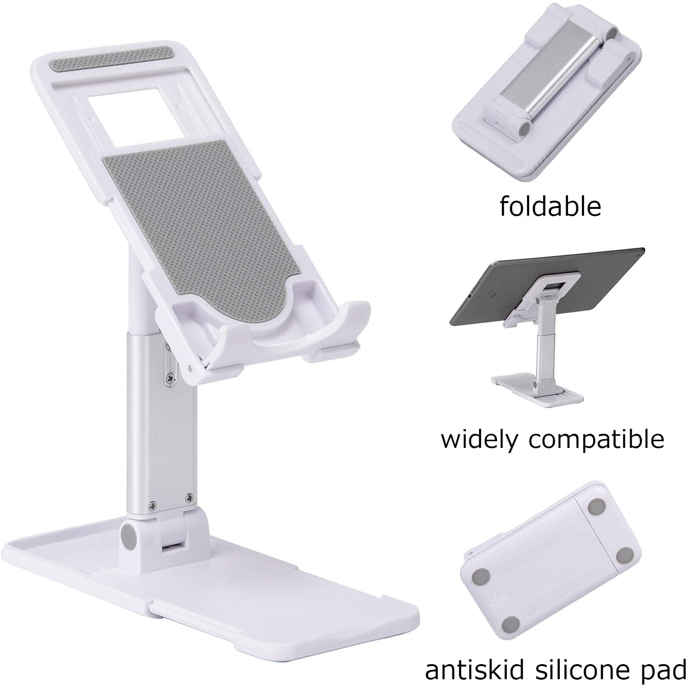 Riavika Upgraded Angle Height Adjustable Cell Phone Stand for Desk Portable Desktop Stand Fully Foldable Phone Stand Holder Tablet Stand Compatible with All Mobile Phones/iPad/Tablets (White)