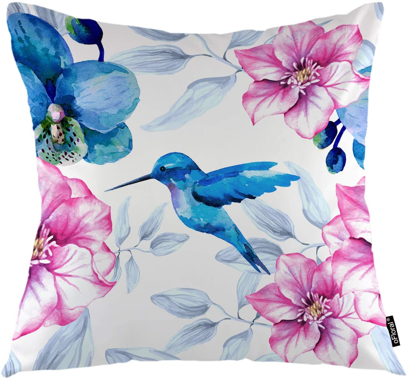 oFloral Flower Throw Pillow Cover Orchid Flowers Hummingbird Nature Rose Plant Decorative Square Pillow Case 18X18 Pillowcase Home Decor for Sofa Bedroom