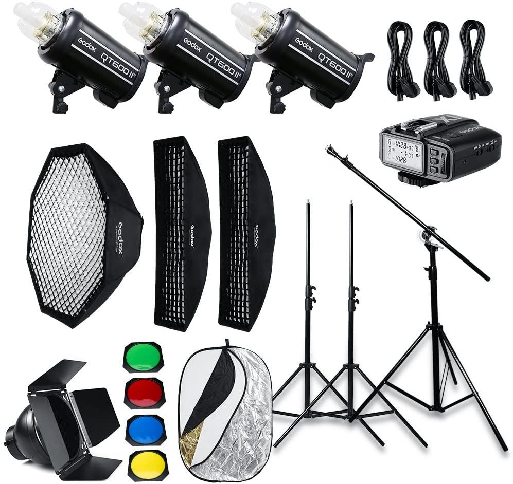 Godox QT600II x3 Built-in 2.4G Wireless X System,High Speed Studio Strobe Flash Light + X1T-F Trigger Compatible Fuji,Softbox,Light Stand, Studio Boom Arm Top Light Stand (110v)