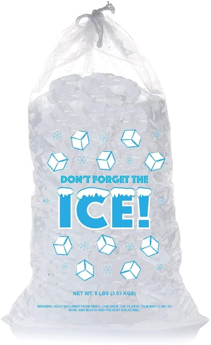 Plastic Ice Bags 8 Lb with Draw String - Pack of 50