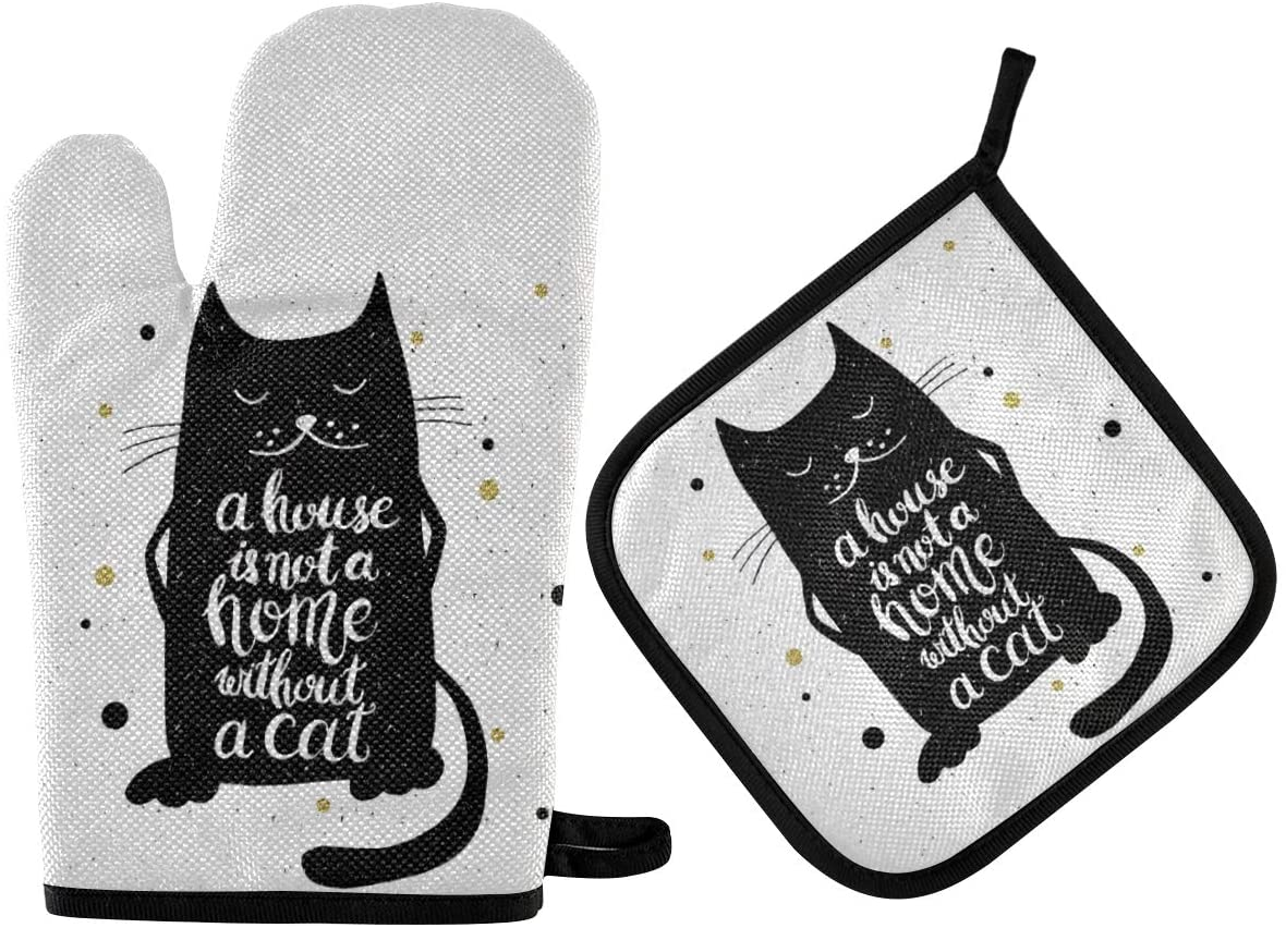 ALAZA Oven Mitts & Pot Holders, Cute Black Cat with Quote Protective Heat Resistant Kitchen Microwave Gloves for Baking Cooking Grilling BBQ