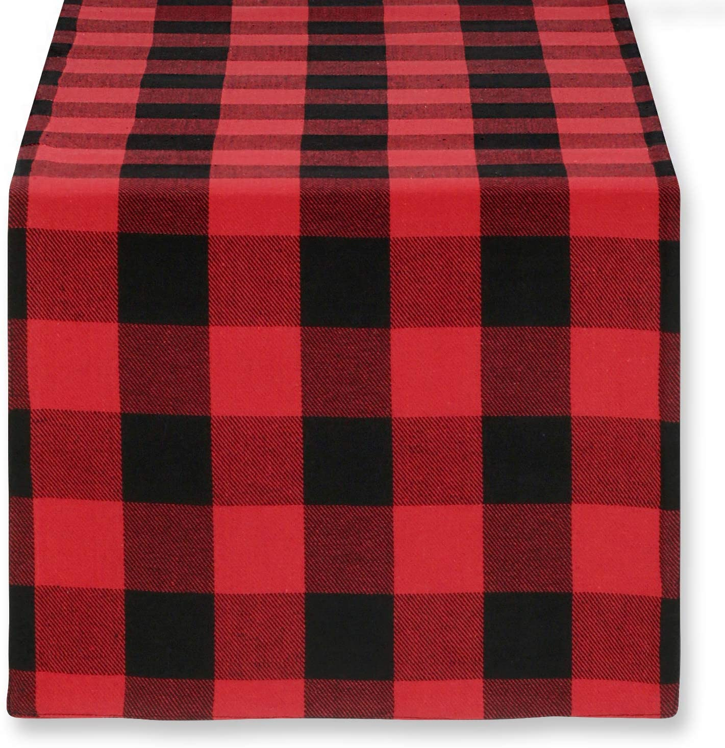 Cackleberry Home Red and Black Buffalo Check Woven Fabric Table Runner Reversible 14 x 108 Inches