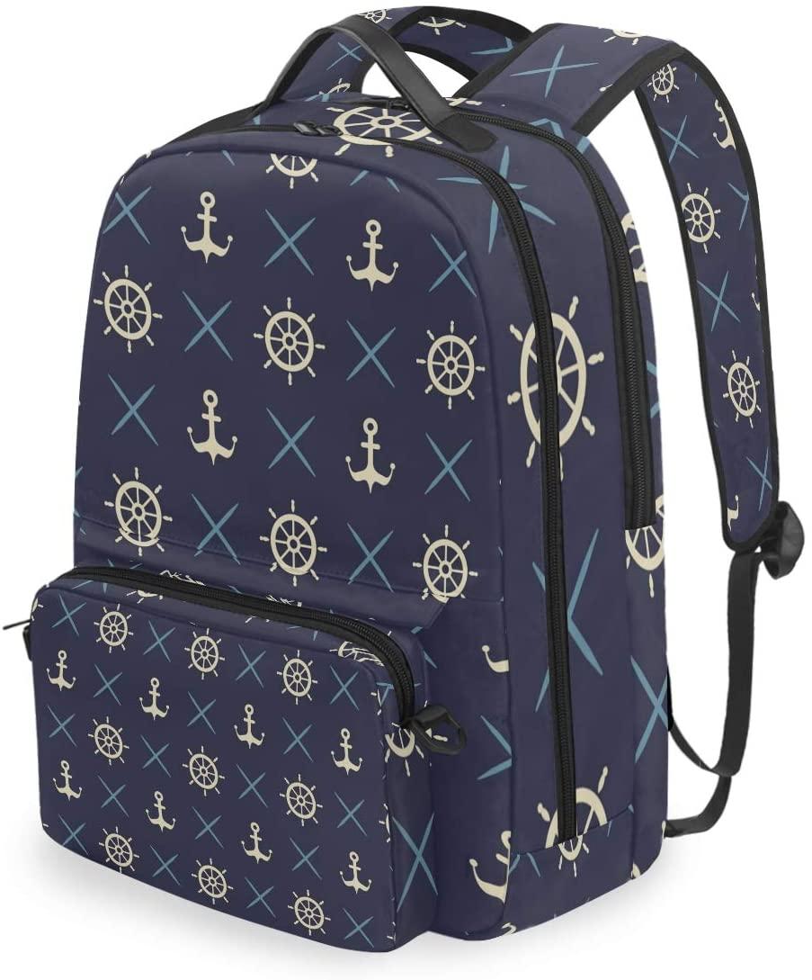 MAHU Backpack Navy Blue Ocean Anchor Rudder Detachable College Bag Travel Zipper Bookbag Hiking Shoulder Crossbody Bag Daypack for Women Men
