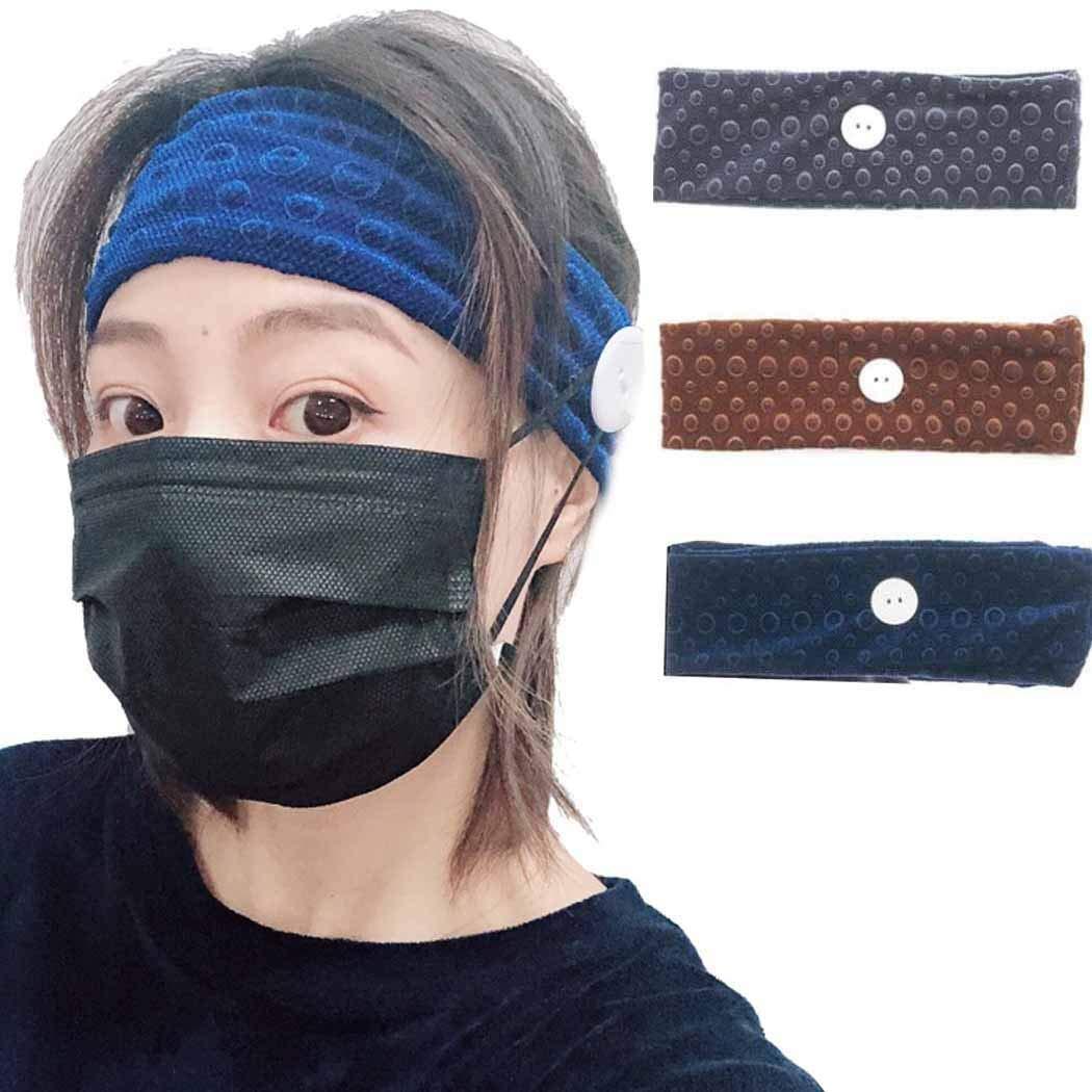 Brishow Button Headband Head Wrap Non Slip Turban Hair Band Fashion Healthcare Ear Protection Hair Scarf Accessories for Women and Girls (3 PCS)(Style2)