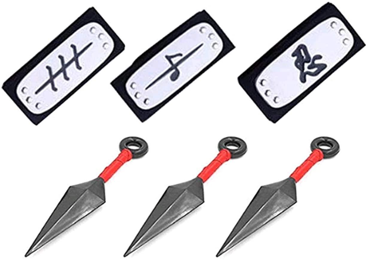 3 Pcs Big Kunai Plastic Toy and 3 PCS NarutoHeadband Costume Metal Plated Cosplay Leaf Village Ninja Kakashi [Black]