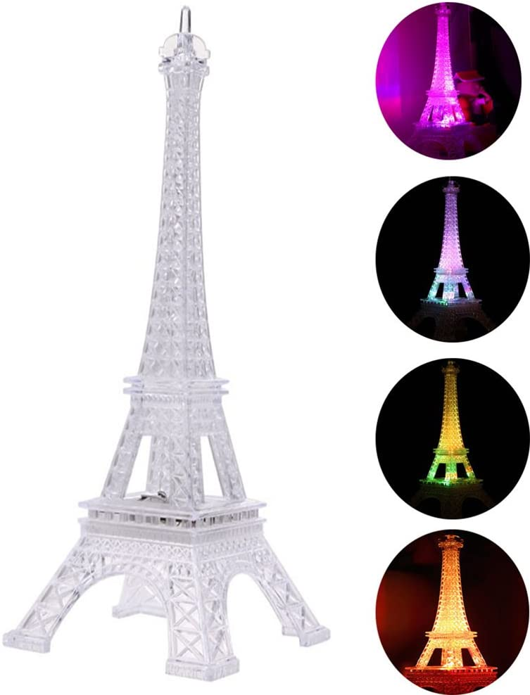 LEDMOMO Eiffel Tower Nightlight Light Up Acrylic 7 Colors Changing 10 Inch Desk Night Light Kids for Holiday Bedroom Centerpiece Decor