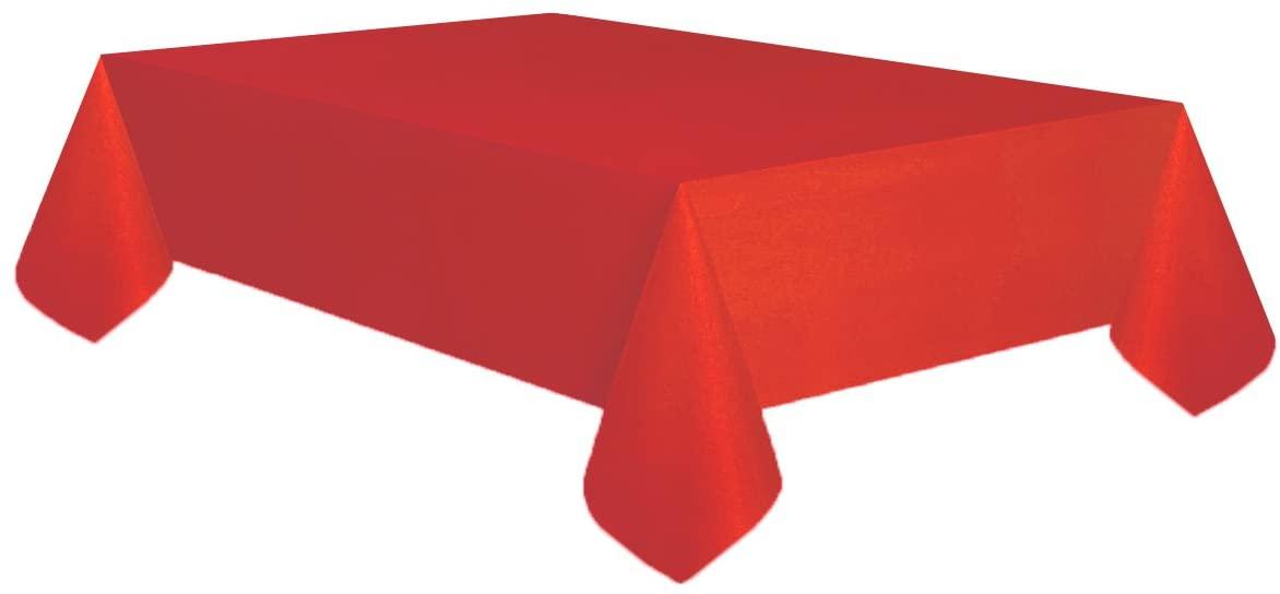 Allgala 6-Pack Premium Plastic Table Cover Medium Weight Disposable Tablecloth-6PK 54x108-Red-TC58305