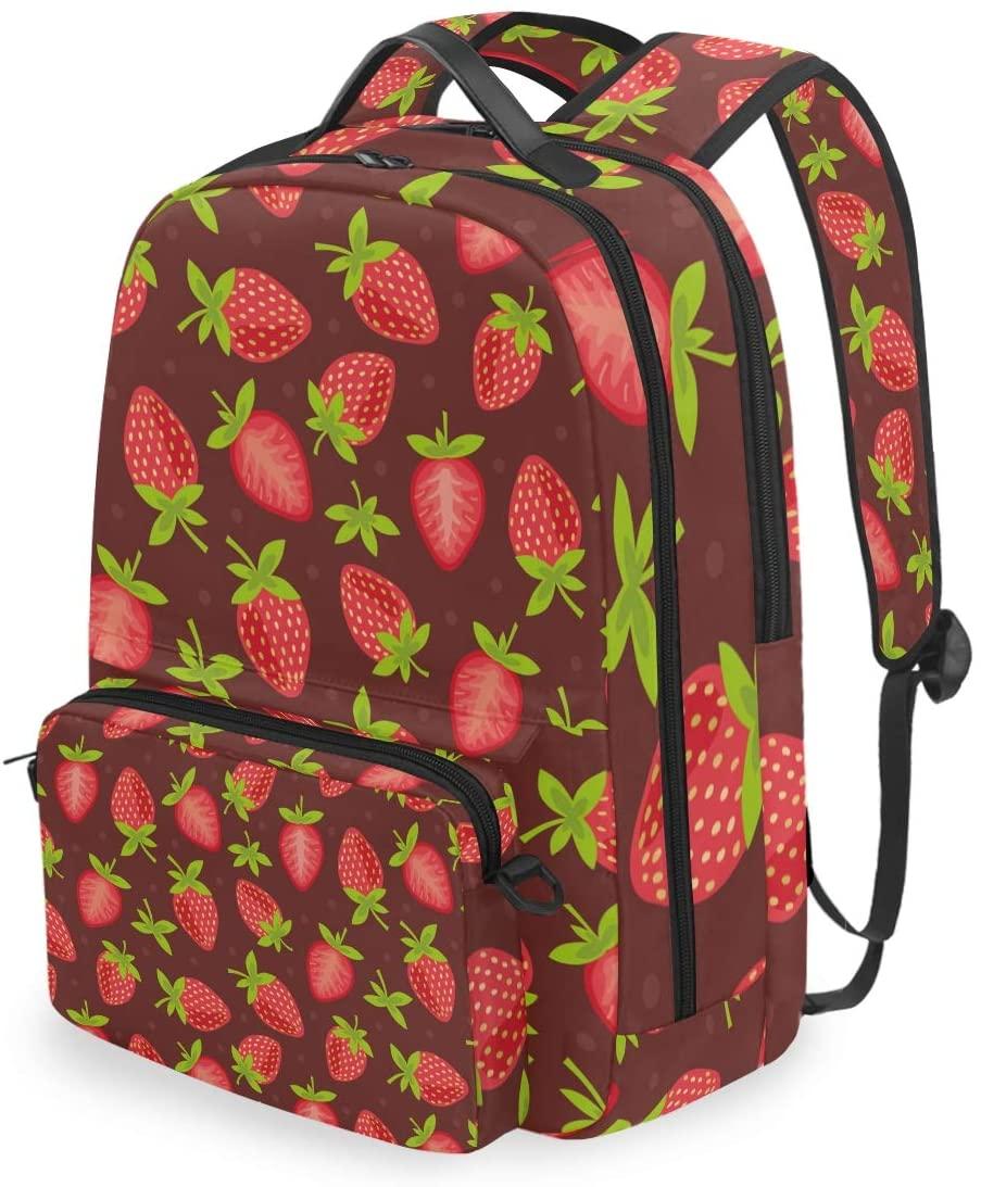 MAHU Backpack Summer Fruit Strawberry Pattern Detachable College Bag Travel Zipper Bookbag Hiking Shoulder Crossbody Bag Daypack for Women Men