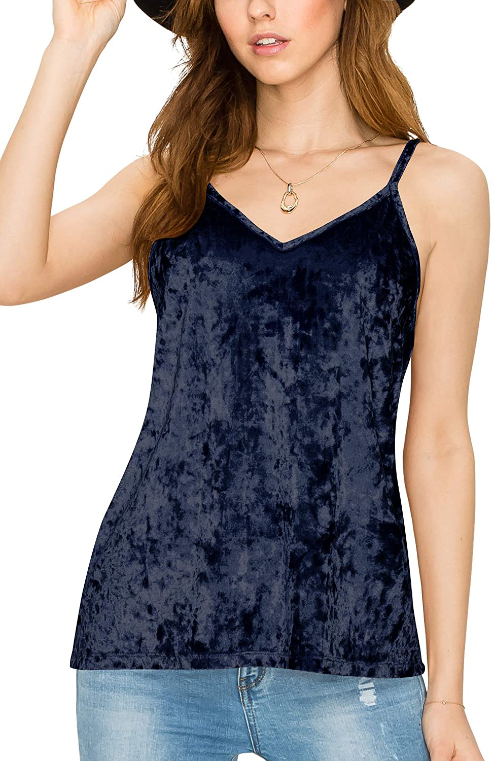 Lock and Love Womens Casual Basic Strappy Velvet V Neck Cami Tank Top