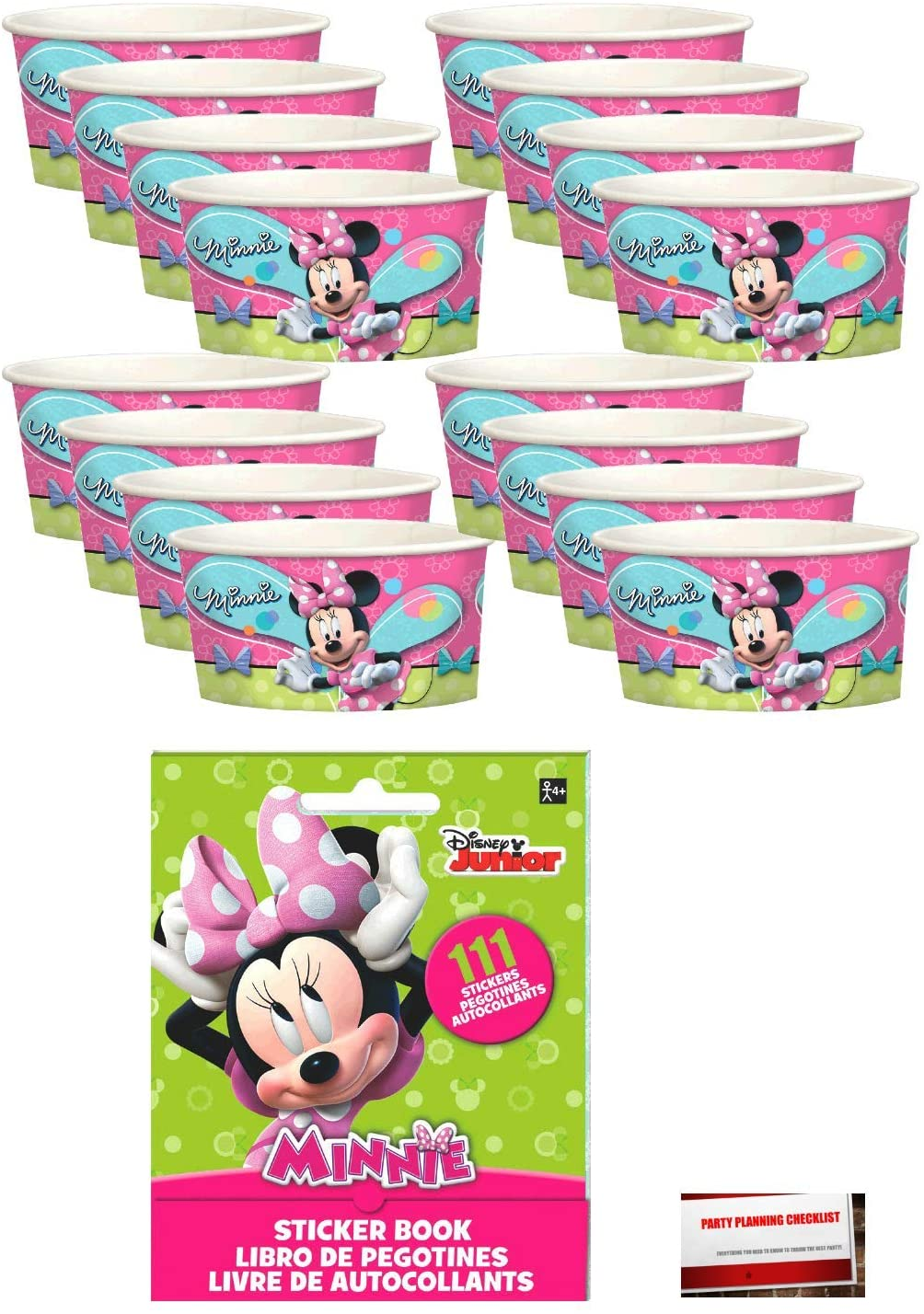 Minnie Mouse Party Decorate Your Own Favor Cups 16 Pack Includes 111 Pc Sticker Book (Plus Party Planning Checklist by Mikes Super Store)