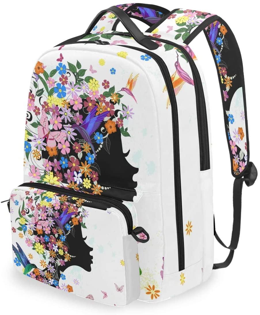 MAHU Backpack Butterfly Animal Bird Floral Girl Detachable College Bag Travel Zipper Bookbag Hiking Shoulder Crossbody Bag Daypack for Women Men
