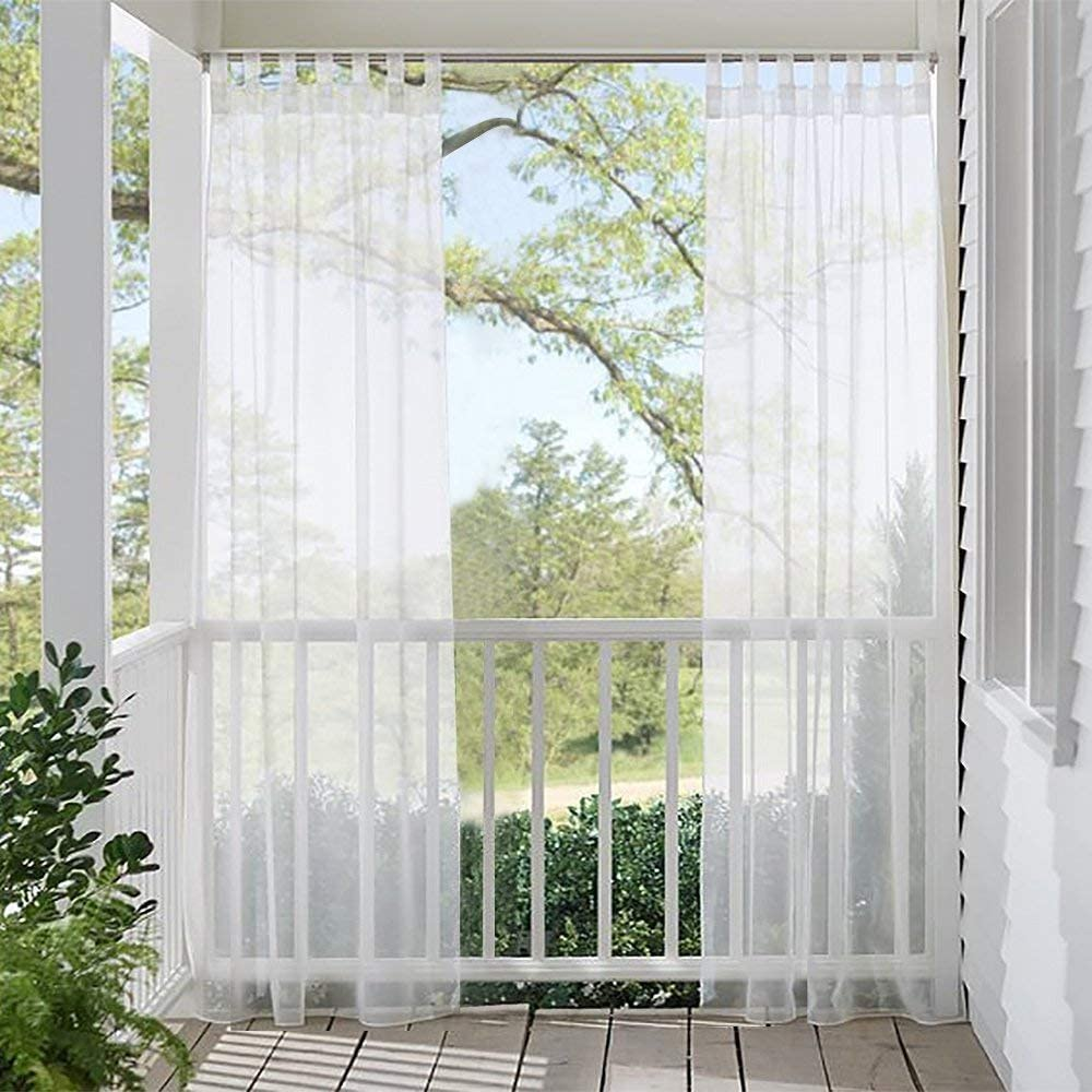 RYB HOME Outdoor Curtain for Patio, White Sheer Outside Curtains 96 Long Waterproof Voile Panel with Tab Loop Top for Gazebo Backyard Arbor Sunroom, 1 Panel with 1 Free Tieback, 54 x 96 inches
